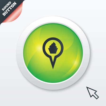 Map pointer food sign icon. Restaurant location marker symbol. Green shiny button. Modern UI website button with mouse cursor pointer. photo