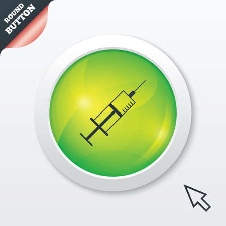 inoculation: Syringe sign icon. Medicine symbol. Green shiny button. Modern UI website button with mouse cursor pointer.
