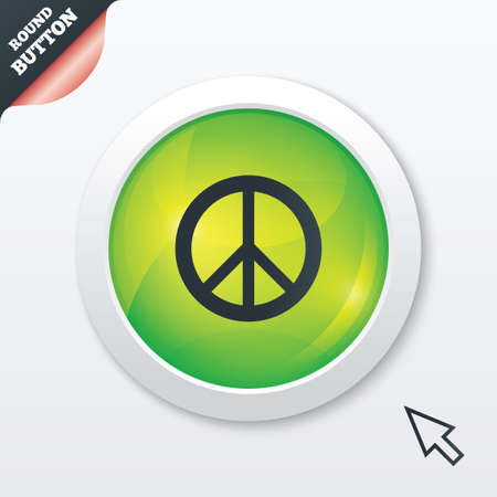 pacificist: Peace sign icon. Hope symbol. Antiwar sign. Green shiny button. Modern UI website button with mouse cursor pointer.