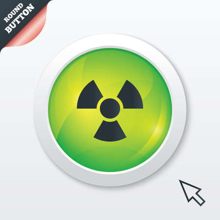 Radiation sign icon. Danger symbol. Green shiny button. Modern UI website button with mouse cursor pointer. photo