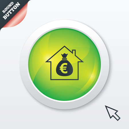Mortgage sign icon. Real estate symbol. Bank loans. Green shiny button. Modern UI website button with mouse cursor pointer.