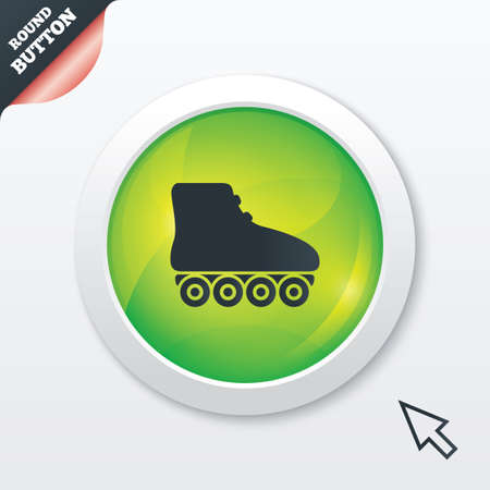 rollerblades: Roller skates sign icon. Rollerblades symbol. Green shiny button. Modern UI website button with mouse cursor pointer. Stock Photo