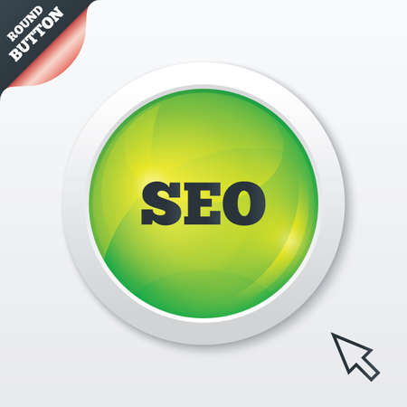 SEO sign icon. Search Engine Optimization symbol. Green shiny button. Modern UI website button with mouse cursor pointer.