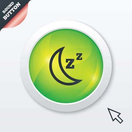 standby: Sleep sign icon. Moon with zzz button. Standby. Green shiny button. Modern UI website button with mouse cursor pointer.