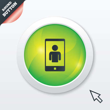 Video call sign icon. Smartphone symbol. Green shiny button. Modern UI website button with mouse cursor pointer. photo
