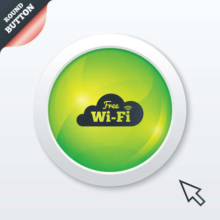Free wifi sign. Wifi symbol. Wireless Network icon. Wifi zone. Green shiny button. Modern UI website button with mouse cursor pointer. photo