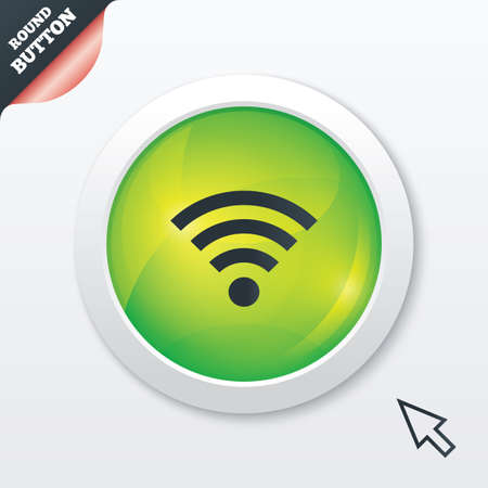 Wifi sign. Wi-fi symbol. Wireless Network icon. Wifi zone. Green shiny button. Modern UI website button with mouse cursor pointer. photo