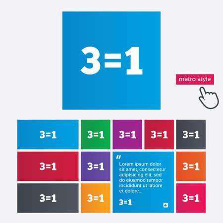 equals: Drei f�r ein Zeichen-Symbol. Nehmen Sie drei Lohn f�r einen Verkauf-Taste. 3 gleich 1 ist. Metro-Stil Tasten. Moderne Schnitt Website Buttons mit Hand-Cursor-Zeiger. Vektor