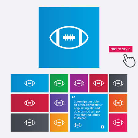 American football sign icon. Team sport game symbol. Metro style buttons. Modern interface website buttons with hand cursor pointer. Vector Vector