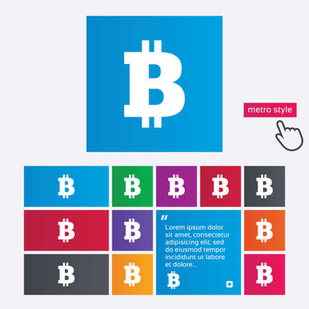 p2p: Bitcoin sign icon. Cryptography currency symbol. P2P. Metro style buttons. Modern interface website buttons with hand cursor pointer. Vector