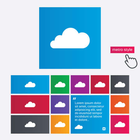 Cloud sign icon. Data storage symbol. Metro style buttons. Modern interface website buttons with hand cursor pointer. Vector Vector