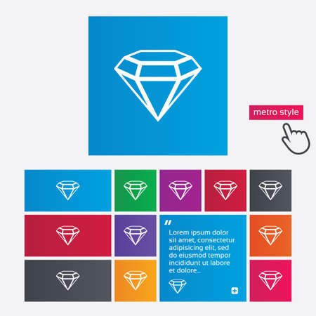 Diamond sign icon. Jewelry symbol. Gem stone. Metro style buttons. Modern interface website buttons with hand cursor pointer. Vector Vector