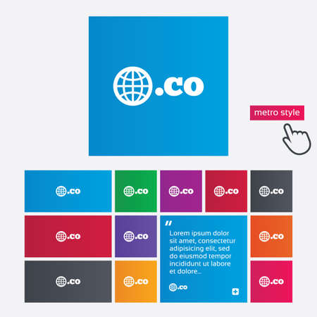 co: Domain CO sign icon. Top-level internet domain symbol with globe. Metro style buttons. Modern interface website buttons with hand cursor pointer. Vector