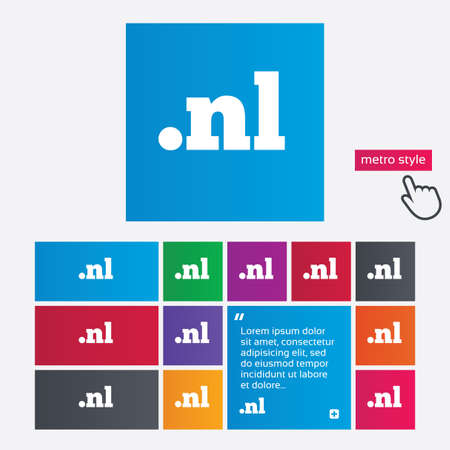nl: Domain NL sign icon. Top-level internet domain symbol. Metro style buttons. Modern interface website buttons with hand cursor pointer. Vector Illustration