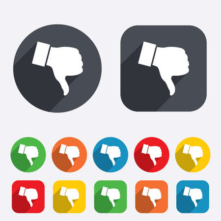 Dislike sign icon. Thumb down sign. Hand finger down symbol. Circles and rounded squares 12 buttons. Vector Vector