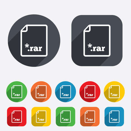compressed: Archive file icon. Download compressed file button. RAR zipped file extension symbol. Circles and rounded squares 12 buttons. Vector
