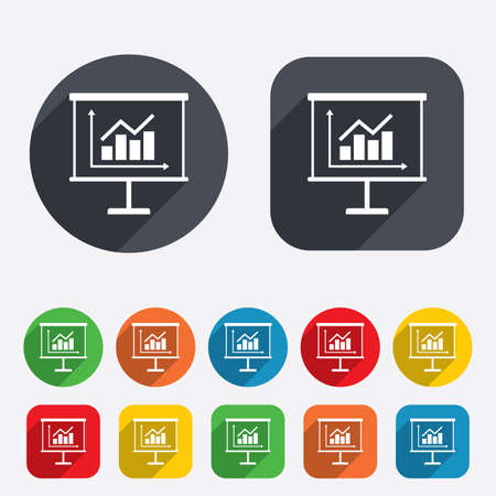 Presentation billboard sign icon. Scheme and Diagram symbol. Circles and rounded squares 12 buttons. Vector Vector