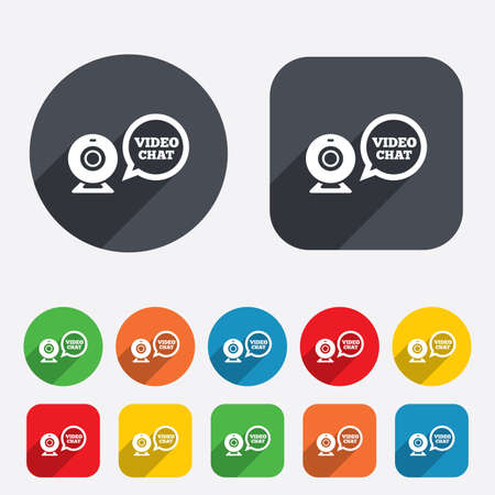 web cam: Video chat sign icon. Webcam video speech bubble symbol. Website webcam talk. Circles and rounded squares 12 buttons. Vector Illustration