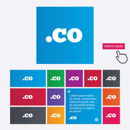 co: Domain CO sign icon. Top-level internet domain symbol. Metro style buttons. Modern interface website buttons with hand cursor pointer. Stock Photo