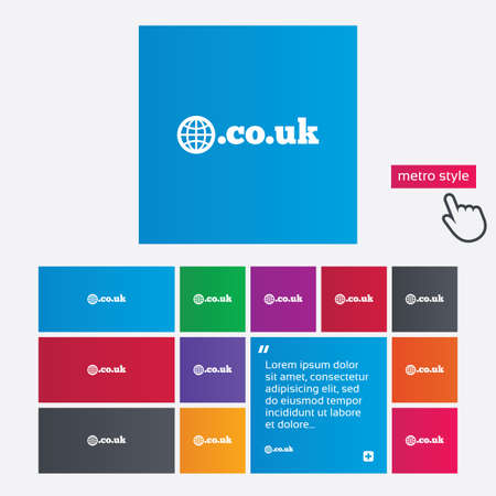 subdomain: Domain CO.UK sign icon. UK internet subdomain symbol with globe. Metro style buttons. Modern interface website buttons with hand cursor pointer.