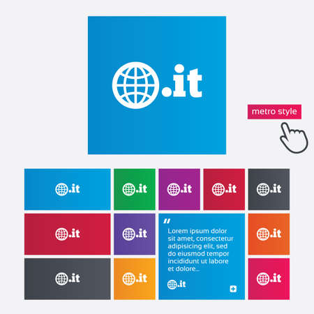 Domain IT sign icon. Top-level internet domain symbol with globe. Metro style buttons. Modern interface website buttons with hand cursor pointer. photo