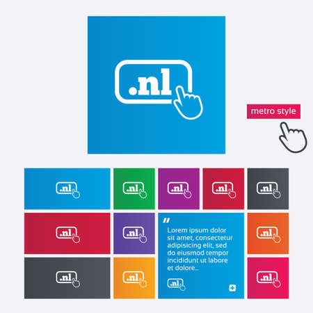 nl: Domain NL sign icon. Top-level internet domain symbol with hand pointer. Metro style buttons. Modern interface website buttons with hand cursor pointer.