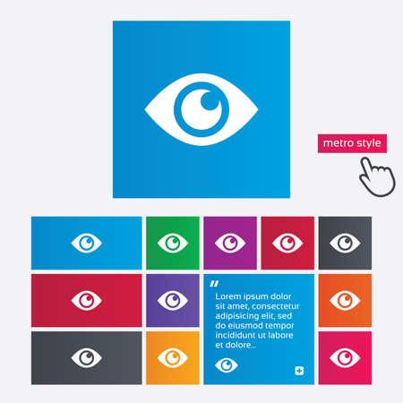 zichtbaarheid: Eye teken pictogram. Publiceren knop content. Zichtbaarheid. Metro stijl knoppen. Moderne interface website knoppen met de hand cursor pointer.