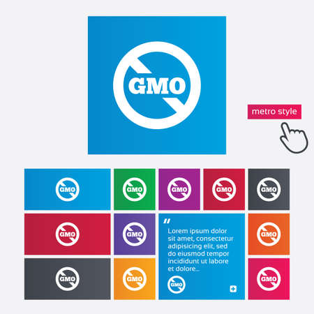No GMO sign icon. Without Genetically modified food. Stop GMO. Metro style buttons. Modern interface website buttons with hand cursor pointer. photo