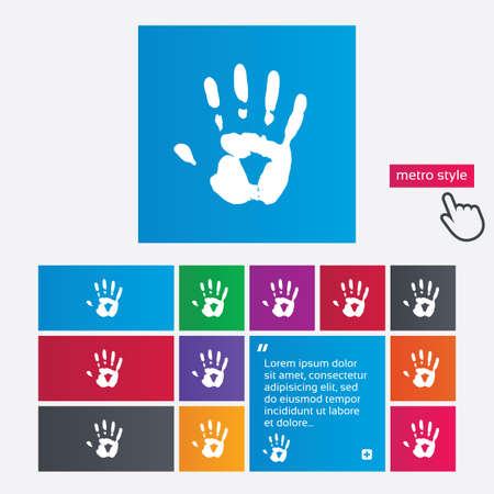 Hand print sign icon. Stop symbol. Metro style buttons. Modern interface website buttons with hand cursor pointer. photo