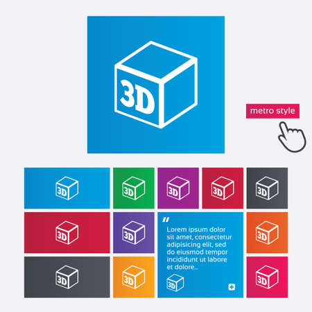 3D Print sign icon. 3d cube Printing symbol. Additive manufacturing. Metro style buttons. Modern interface website buttons with hand cursor pointer. Vector Vector