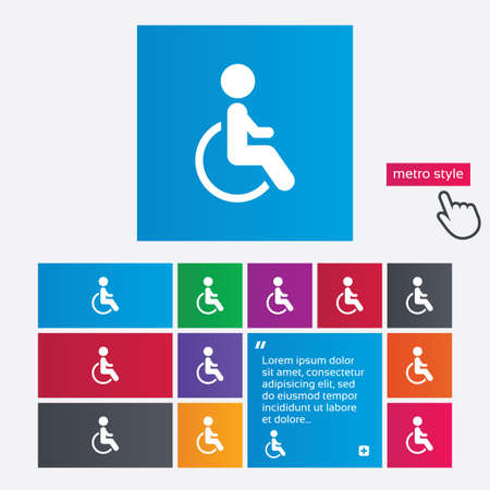 Disabled sign icon. Human on wheelchair symbol. Handicapped invalid sign. Metro style buttons. Modern interface website buttons with hand cursor pointer. Vector Vector