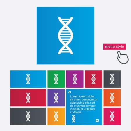 deoxyribonucleic: DNA sign icon. Deoxyribonucleic acid symbol. Metro style buttons. Modern interface website buttons with hand cursor pointer. Vector