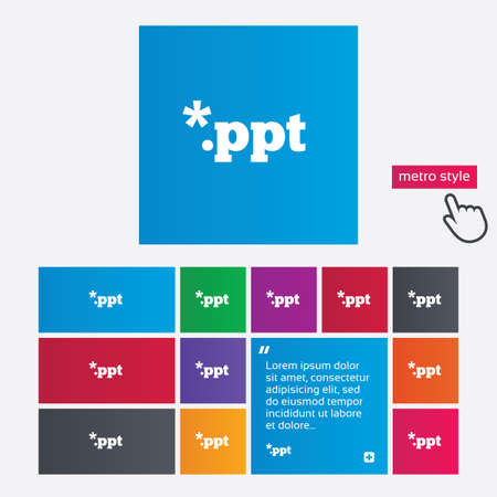 ppt: File presentation icon. Download PPT button. PPT file extension symbol. Metro style buttons. Modern interface website buttons with hand cursor pointer. Vector