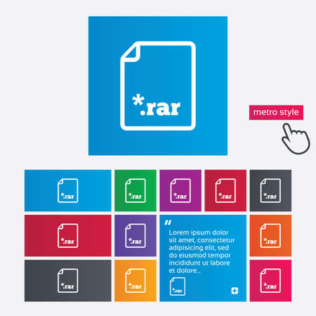 rar: Archive file icon. Download compressed file button. RAR zipped file extension symbol. Metro style buttons. Modern interface website buttons with hand cursor pointer. Vector