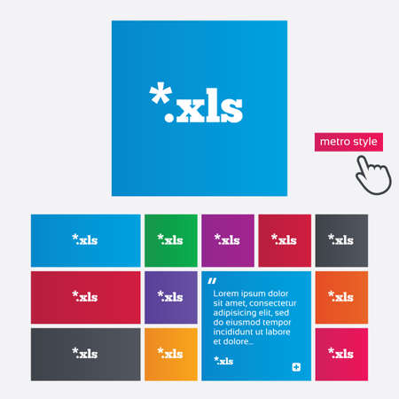xls: Excel file document icon. Download xls button. XLS file extension symbol. Metro style buttons. Modern interface website buttons with hand cursor pointer. Vector
