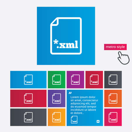 extensible: File document icon. Download XML button. XML file extension symbol. Metro style buttons. Modern interface website buttons with hand cursor pointer. Vector Illustration