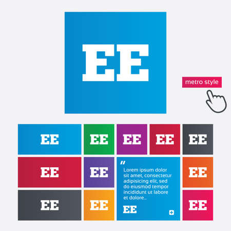 ee: Estonian language sign icon. EE translation symbol. Metro style buttons. Modern interface website buttons with hand cursor pointer. Vector Illustration