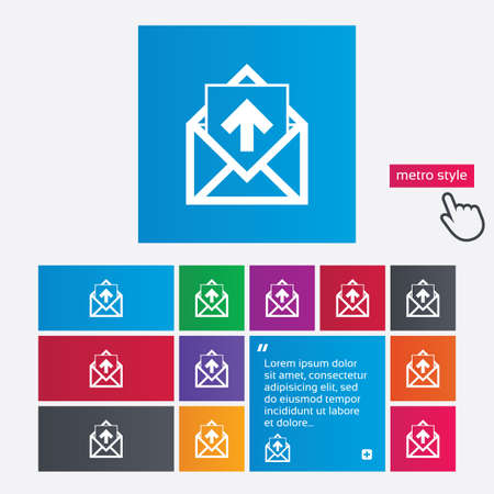 outgoing: Mail icon. Envelope symbol. Outgoing message sign. Mail navigation button. Metro style buttons. Modern interface website buttons with hand cursor pointer. Vector