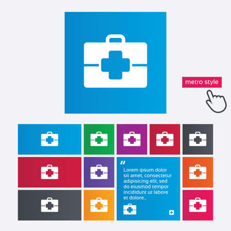 doctor symbol: Medical case sign icon. Doctor symbol. Metro style buttons. Modern interface website buttons with hand cursor pointer. Vector Illustration