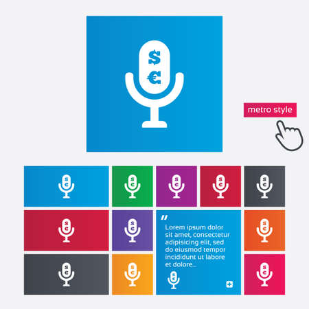 usr: Microphone icon. Speaker symbol. Paid music sign. Metro style buttons. Modern interface website buttons with hand cursor pointer. Vector Illustration