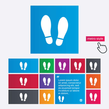 shoe print: Imprint soles shoes sign icon. Shoe print symbol. Metro style buttons. Modern interface website buttons with hand cursor pointer. Vector Illustration