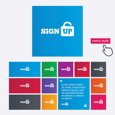 Sign up sign icon. Registration symbol. Lock icon. Metro style buttons. Modern interface website buttons with hand cursor pointer. Vector Vector
