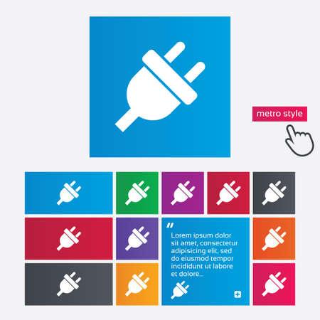 unplugged: Icono de signo de enchufe el�ctrico. S�mbolo de la energ�a de alimentaci�n. Botones de estilo Metro. El sitio web de interfaz modernos botones con puntero del cursor mano. Vector