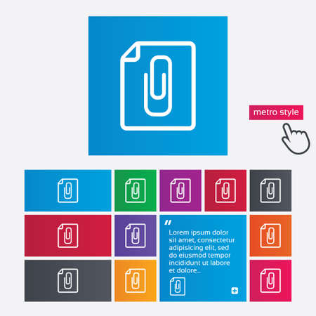 File annex icon. Paper clip symbol. Attach symbol. Metro style buttons. Modern interface website buttons with hand cursor pointer. Vector Stock Vector - 27514041
