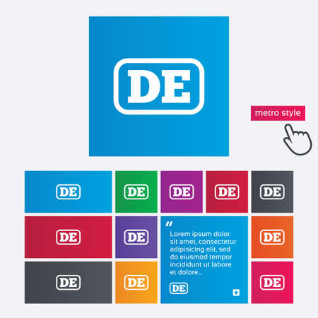 abbreviation: German language sign icon. DE Deutschland translation symbol with frame. Metro style buttons. Modern interface website buttons with hand cursor pointer. Vector