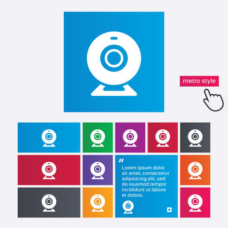 Webcam sign icon. Web video chat symbol. Camera chat. Metro style buttons. Modern interface website buttons with hand cursor pointer. Vector Vector