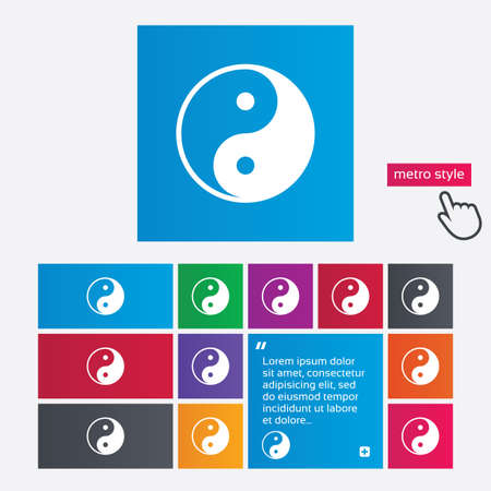 yang ying: Ying yang sign icon. Harmony and balance symbol. Metro style buttons. Modern interface website buttons with hand cursor pointer. Vector