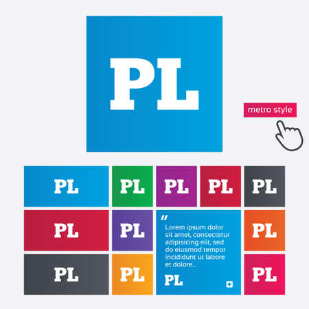 pl: Polish language sign icon. PL translation symbol. Metro style buttons. Modern interface website buttons with hand cursor pointer. Vector Illustration