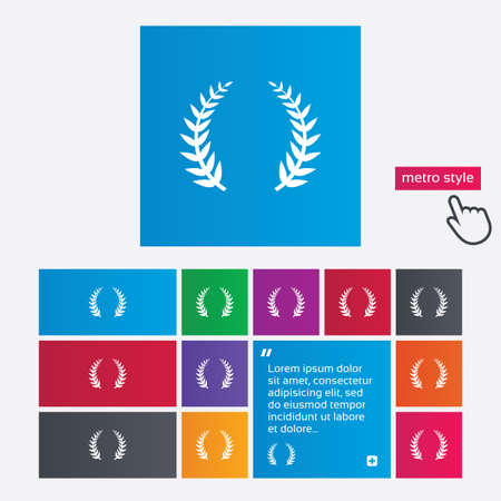 Laurel Wreath sign icon. Triumph symbol. Metro style buttons. Modern interface website buttons with hand cursor pointer. Vector Vector