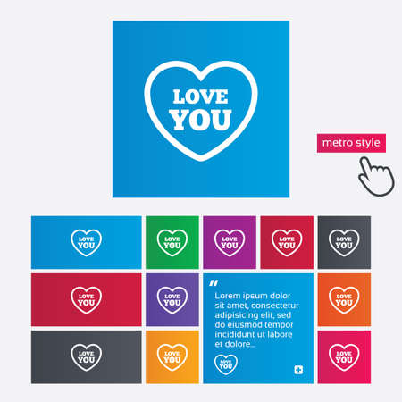 Heart sign icon. Love you symbol. Metro style buttons. Modern interface website buttons with hand cursor pointer. Vector Vector